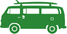 Bus met surfboard