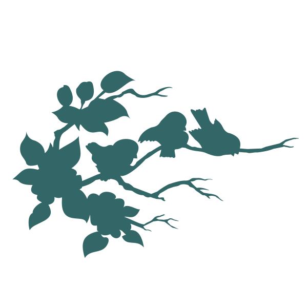 Strijkapplicatie Vogeltjes op Tak