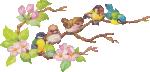Strijkapplicatie Vogeltjes op Tak 2