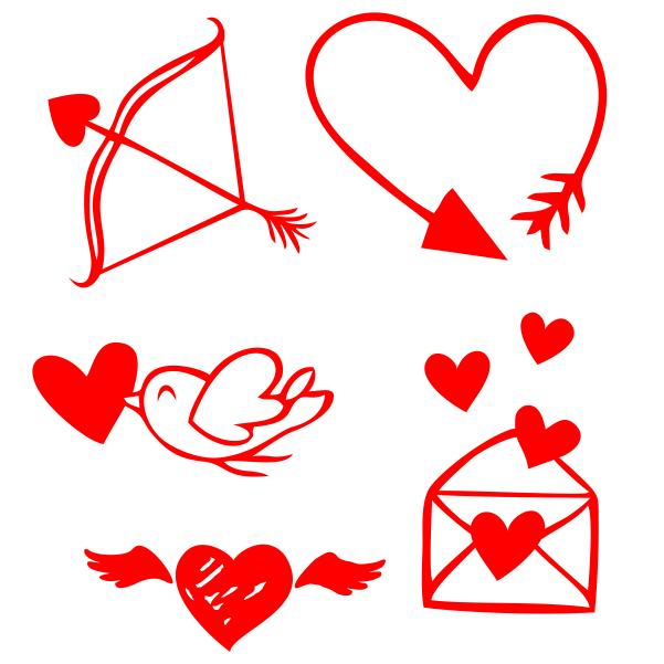 Strijkapplicatie Harten Set Valentine